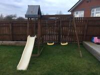 Wooden children swing and slide set