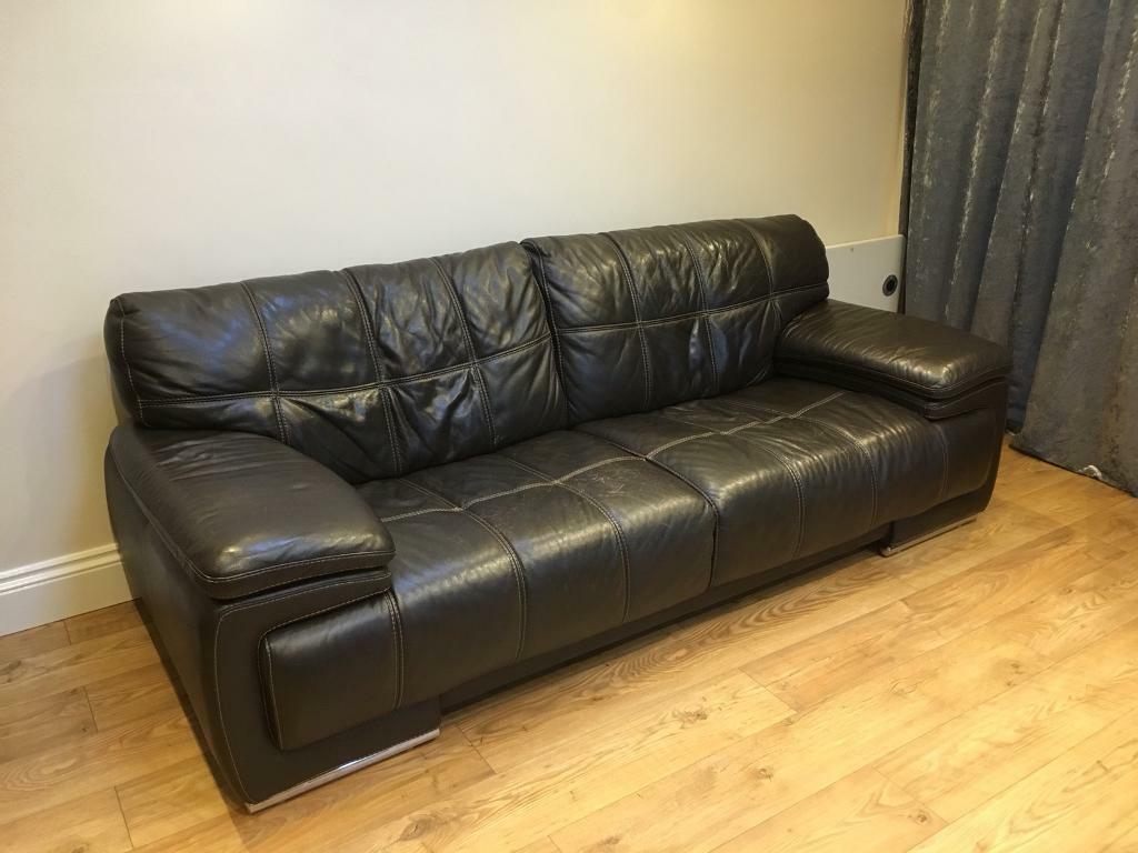 Brown Leather Sofa Csl Violino Bergamo