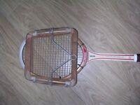 Vintage wooden Dunlop tennis racket and press