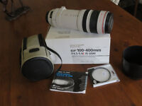 Canon Ef lens 100-400mm f4.5 to 5.6 IS USM hardly used