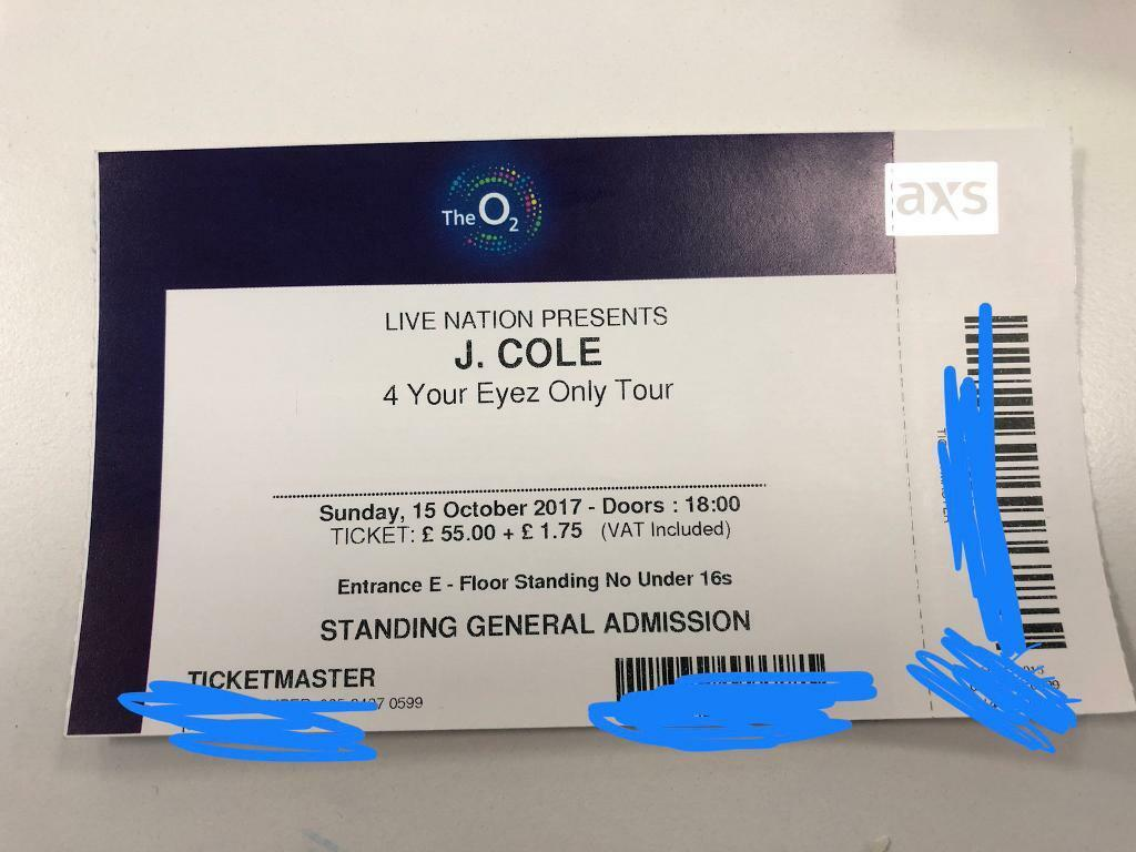 J. Cole London O2 Arena Tickets for Sale 15/16 October
