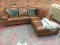Tan Brown Leather Corner Sofa with Chaise - Can Deliver