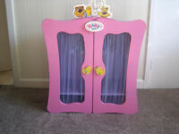 Baby Born Collection Pink Wardrobe c/w Assorted Clothes Hangers - Very Tidy Condition