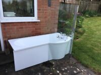 Ex display P shaped bath with curved shower screen