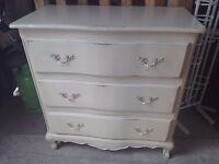 Beautiful laura Ashley shabby chic cream chest of drawers