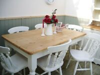 Stunning Pine Country Farmhouse 5ft Table and Chair Set.