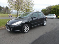 PEUGEOT 307 S HATCHBACK 5 DOOR BLACK NEW SHAPE ONLY 59K MILES BARGAIN £1450 *LOOK* PX/DELIVERY