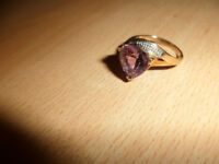 ladies 9ct amethyst & diamonds ring.