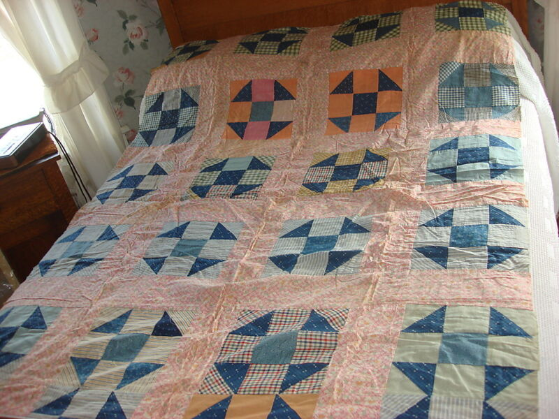 Antique QUILT TOP 9-PATCH SHOO FLY Pattern Early Calico,Floral Pink Plaid 54X76