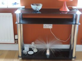 BLACK GLASS AND CHROME CONSOLE TABLE