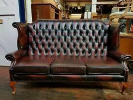 Deep Oxblood Queen Anne Sofa