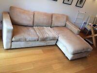 Cheap comfy L-shaped corner sofa (brown, cream, khaki, sand) fabric
