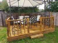Garden Decking with Frame, Rails, Spindles and Posts