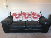 Black Leather Sofa, Armchairs and Foot Stools