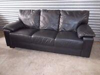 Italian Black Full Leather 3+2-seater Suite