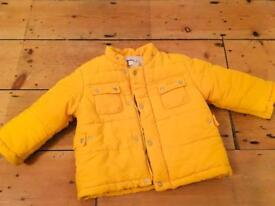 Mignolo unisex yellow puffer jacket- 12-18 months