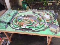 Model train railway layout (HO) 8x4