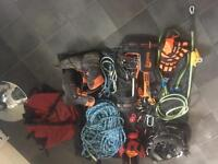 Tree surgeon Arborist climbing kit boots rope harness climbing spikes chainsaw boots