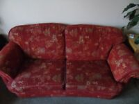 Sofa, FREE, 3-seater, rust red & gold, excellent condition - COLLECTION ONLY