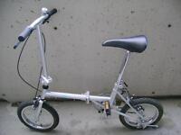 Folding Vincente, a single speed, 14 inch wheels