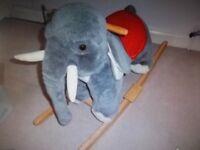 LARGE PLUSH ROCKING RIDE ON ELEPHANT by EVERCARE