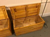 Wooden chest with hinged lid