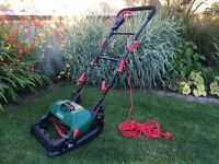 Qualcast electric cylinder lawnmower and grass box