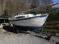 Robert Tucker Sailing / Fishing Boat Yacht 20ft with trailer for refurbishment