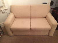Beige Comfortable Suede Type Material Two Seater Sofabed With Slide Out Frame & Storage Underneath