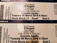 2 x D'Angelo tickets Eventim Opollo re-scheduled date