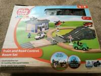 Wooden train, road and vehicle set for sale