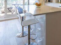 Stork Gas Lift Bar Stools x2 (high gloss white)