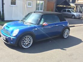 Mini Cooper sport convertible, blue, 2005, 114000 mileage