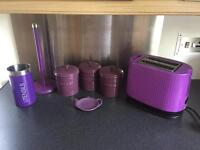 7 Piece Purple Kitchen Set - Bodum Toaster, House Of Fraser Tea, Coffee & Sugar Set And 3 More Items