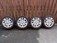 """Renault Laguna 17"""" Alloys Wheels Tyres 5x108 2 New Tyres 2 Good Tyres"""