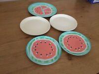 Ten melamine plates