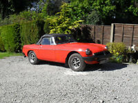 MGB Roadster 1979 Vermillion. MOT to March 2018.
