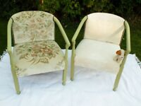 Furniture 1920s/30s solid oak painted armchair Bedroom Lounge Re-upholstered chairs Choice of 2