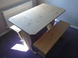 Pine dining table bench set