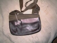Small brown leather and cloth radley cross body bag