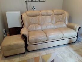 3 seater, 2 seater & footstool leather suite