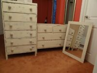 2 solid pine chests of drawers and mirror all recently renovated as 'shabby chic'