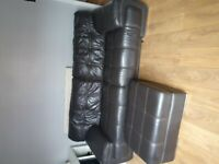 3 seater leather couch with leather storage puff
