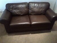 small leather sofa in brown can deliver