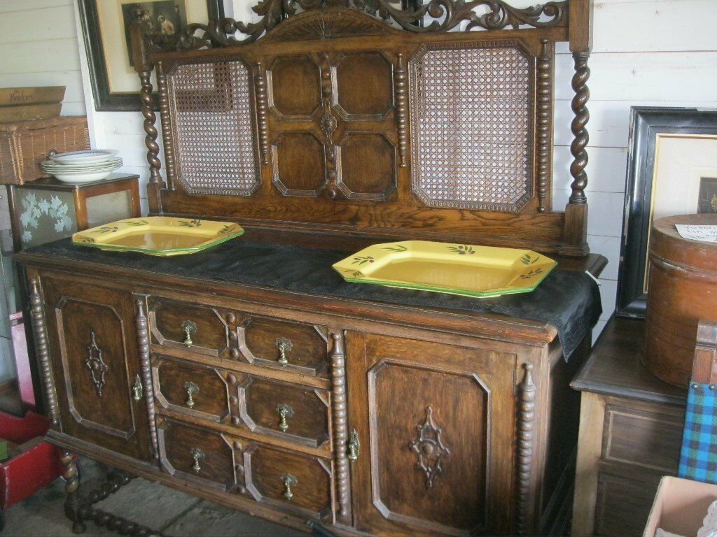 ANTIQUE EDWARDIAN VERY ORNATE SOLID OAK CARVED SIDEBOARD. VERY EYE-CATCHING. VIEW/DELIVERY POSSIBLE