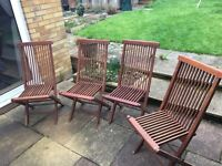 Set of 4 solid wood folding garden chairs £45
