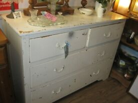 ANTIQUE SOLID PINE PAINTED WIDE CHEST OF DRAWERS. IDEAL IN ANY ROOM