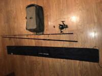 Brand new rovex nitrium carp 3.25lb fishing rod, reel and bait bag