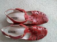 Red leather sandals, size 42