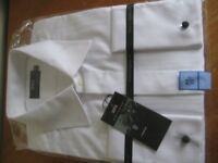 NEW WITH TAGS AND WRAPPINGS - M&S WHITE EVENING SHIRT - SIZE 17